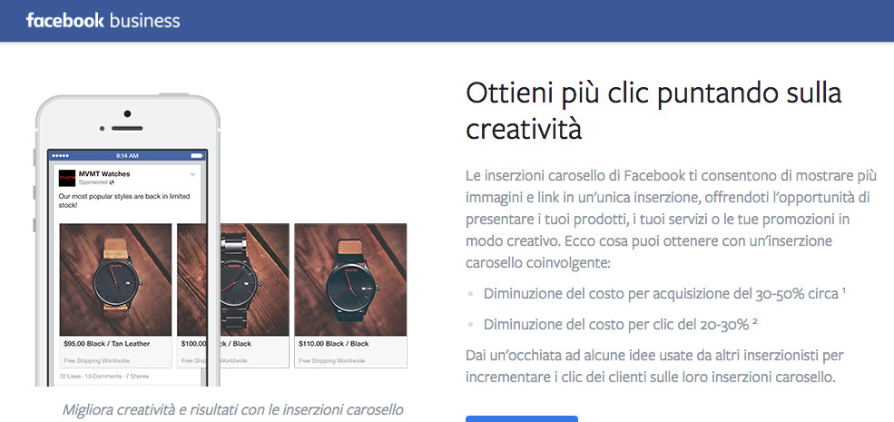 Promoted carousel FB business CLIC