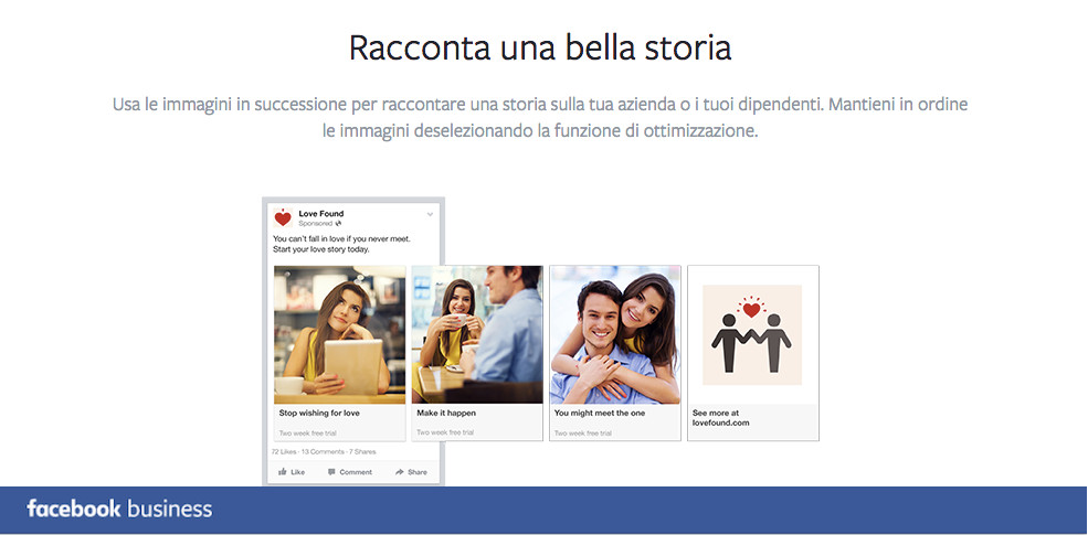 Promoted carousel FB business STORIA