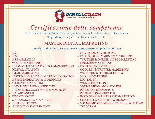 Certificato delle competenze Master Digital Marketing