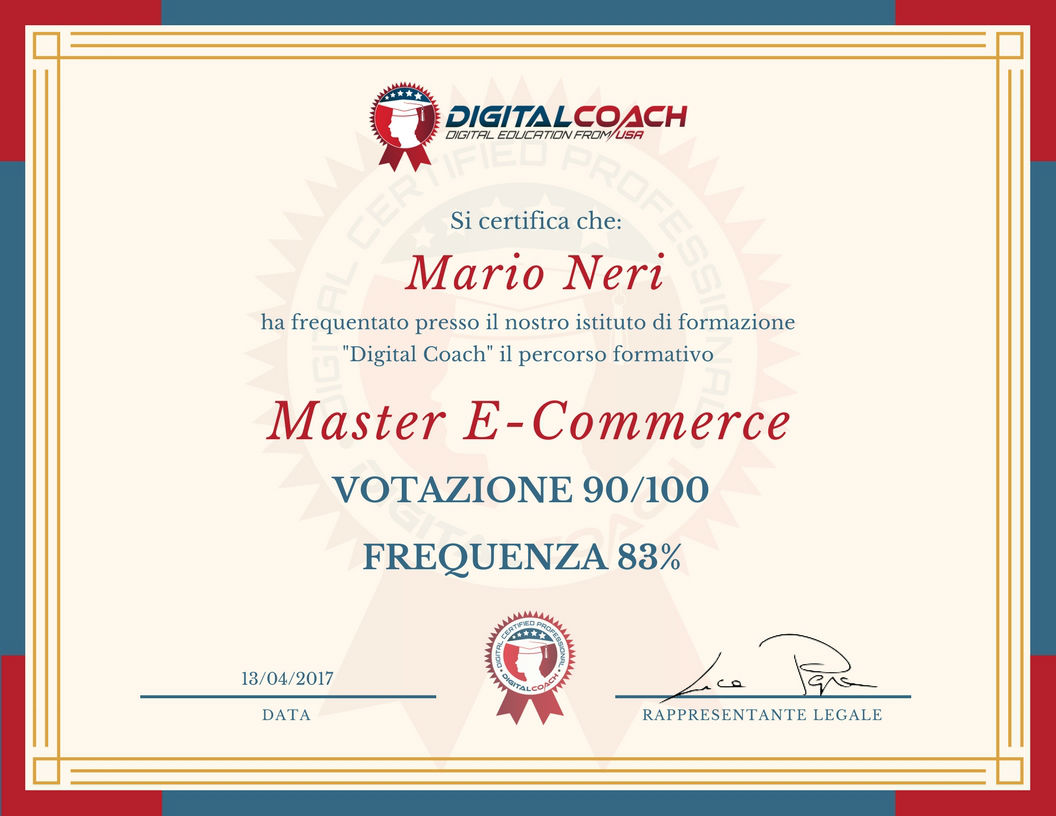 Certificato di frequenza e profitto Master E-commerce