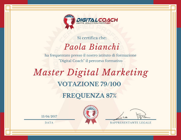 Certificato di frequenza e profitto Master Digital Marketing