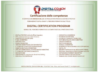 attestato competenze acquisite master con stage