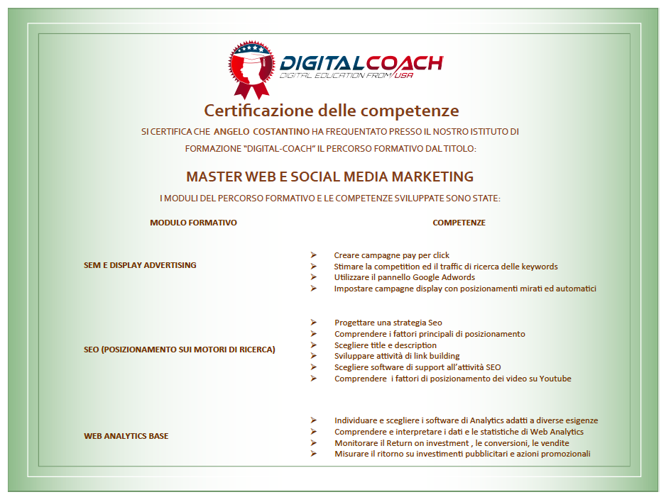 Certificazione competenze master web e social media marketing
