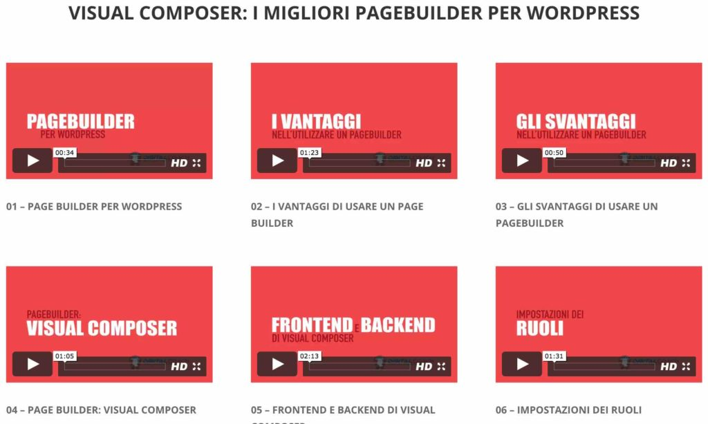 Visual Composer: video tutorial sui migliori Page Builder WordPress