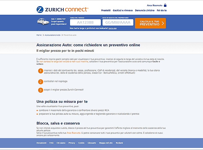 Zurich Connect assicurazione online digital marketing senza compromessi