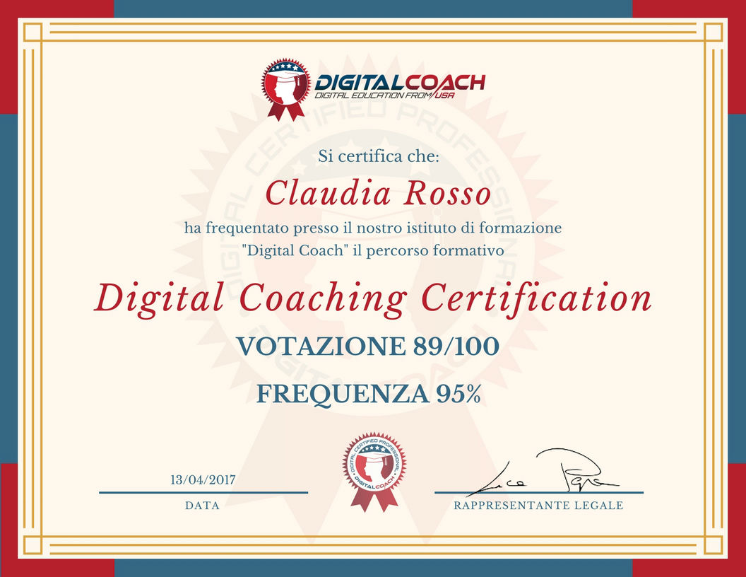 Certificato di frequenza e profitto Digital Coaching Certification