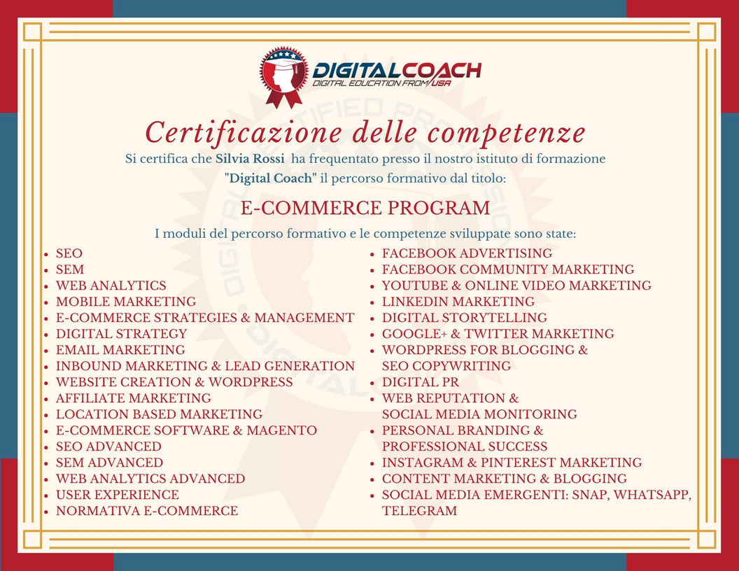 Certificato delle competenze E-commerce Program