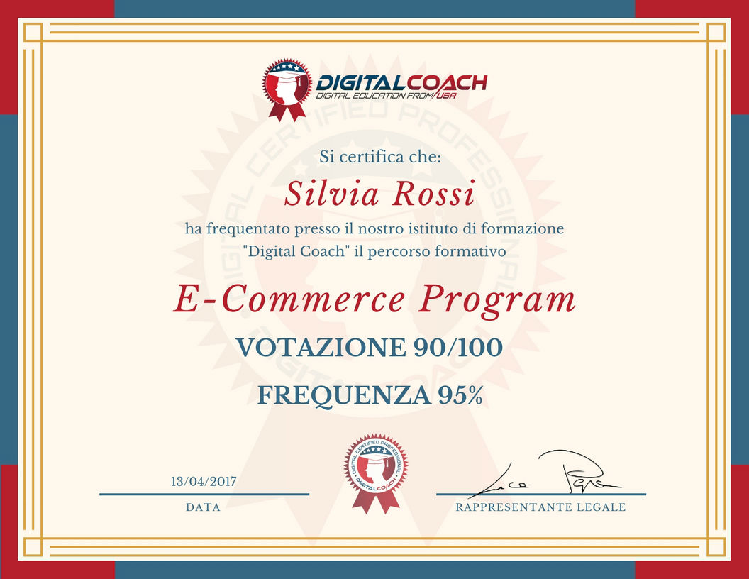 Certificato di frequenza e profitto E-commerce Program