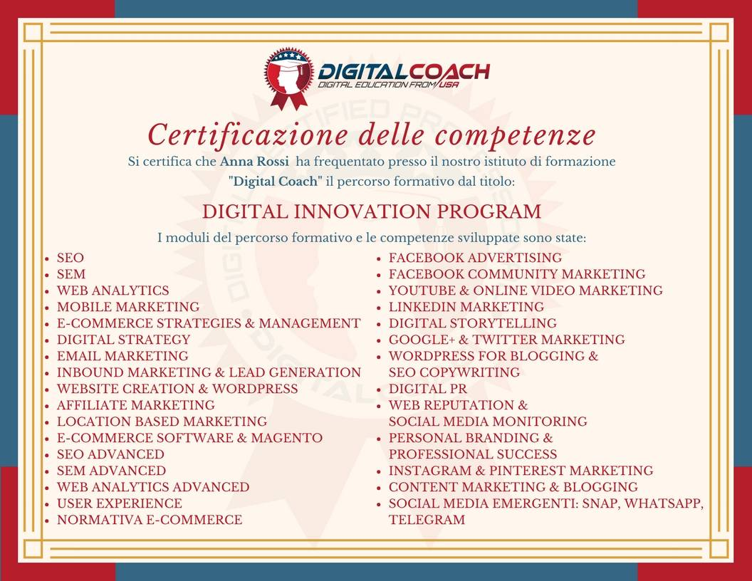 Demo della Certificazione di Frequenza e Profitto Digital Innovation Program