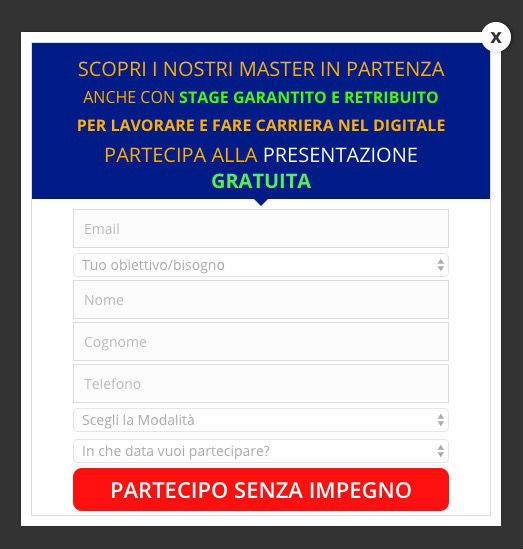 Optin Form Richiesta Info
