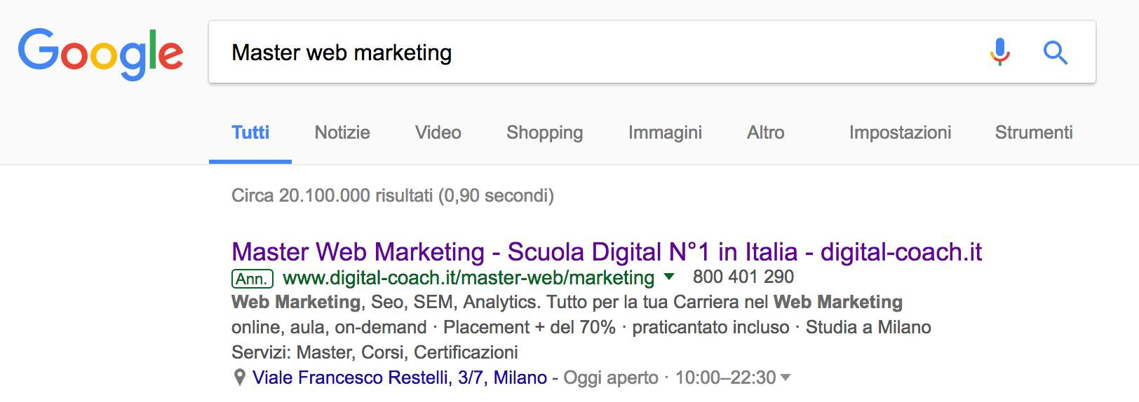 SERP query adwords
