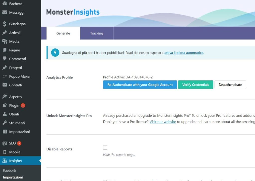 Google Analytics WordPress MonsterInsights Plugin installato