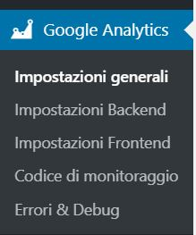 Google Analytics WordPress GA Dashboard Impostazioni generali