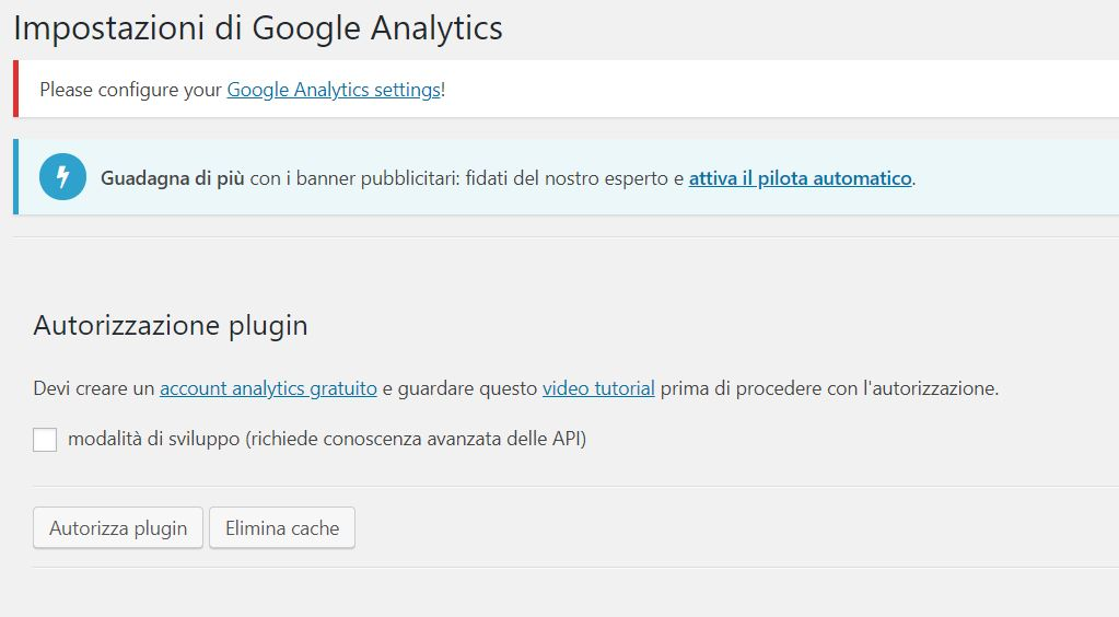 Google Analytics WordPress GA Dashboard Autorizza Plugin