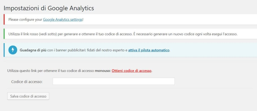 Google Analytics WordPress GA Dashboard Ottieni codice di accesso
