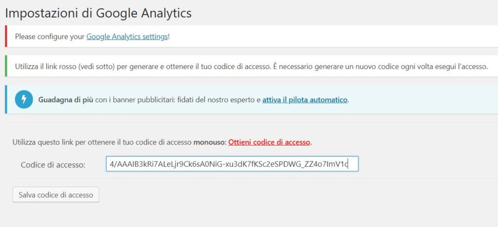 Google Analytics WordPress GA Dashboard Copia Codice di Accesso