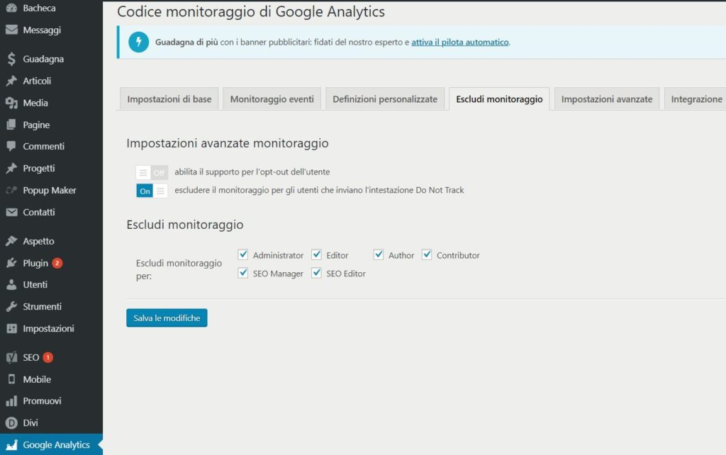 Google Analytics WordPress GA Dashboard Escludi monitoraggio