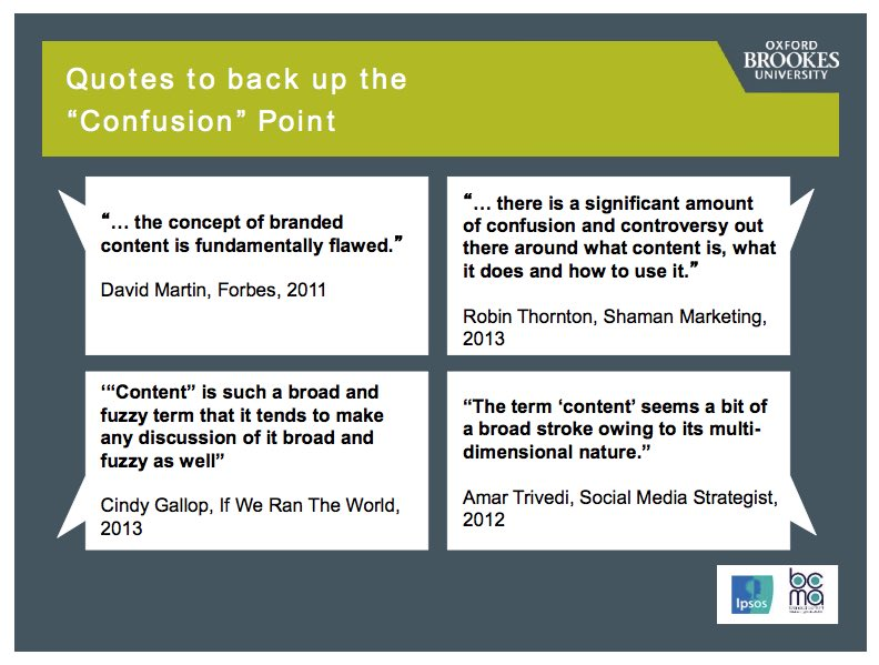 branded content marketing Confusion Point by BCMA study