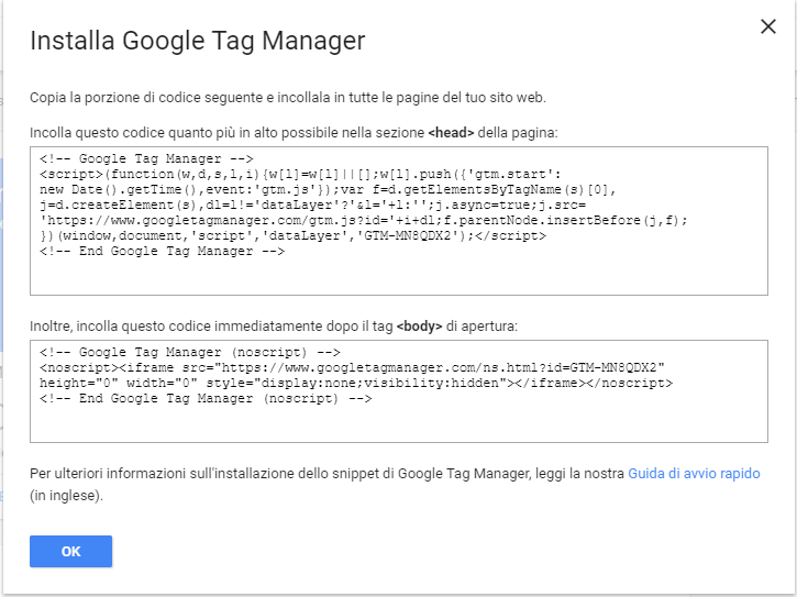 google tag manager contenitore
