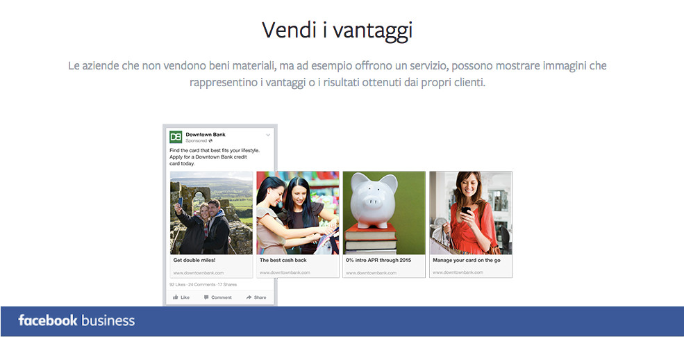 Promoted carousel FB business VANTAGGI