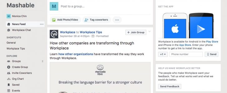 la bacheca di Facebook Workplace