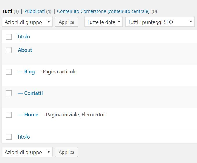 Pagina genitore WordPress