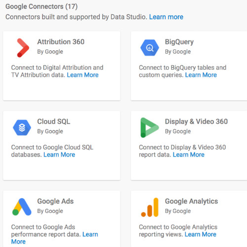 Google Data Studio: connectors