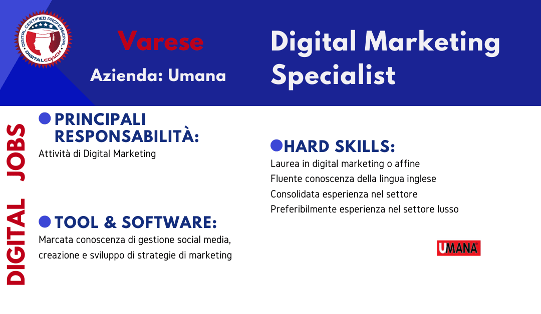 annuncio offerta lavoro digital marketing specialist fulltime varese
