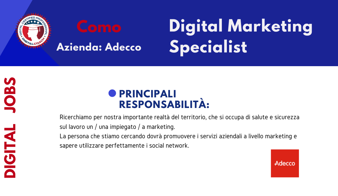 annuncio offerta lavoro digital marketing specialist fulltime como