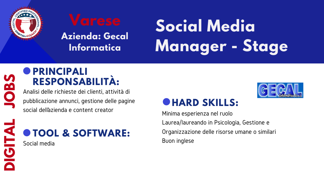 annuncio offerta lavoro social media manager stage varese